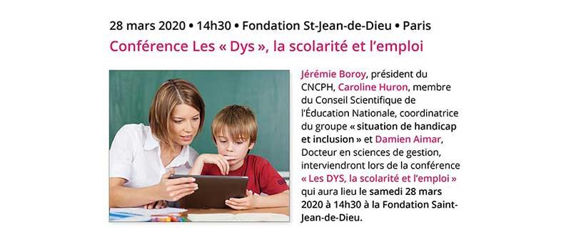 """Conférence : """"Les """"Dys"""", la scolarité et l'emploi - mars 2020"""